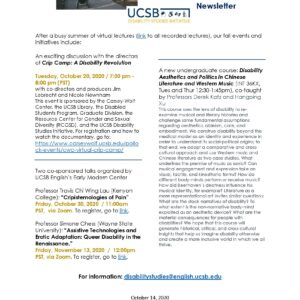 One-page newsletter of the Disability Studies Initiative featuring information on upcoming talks and classes.