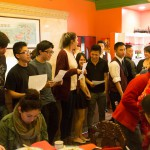 Gathering at a restaurant
